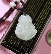 100% Natural Jade (Grade A) Untreated Icy Jadeite Laughing Buddha Pendant