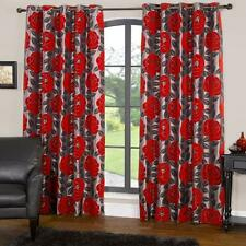 Modern Floral Design Red Rose Flower Ring Top Lined Curtains Different Sizes