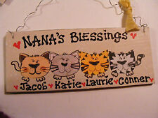 NANA'S BLESSINGS NAME SIGN~CAT THEMED. 2-6 ~PERSONALIZED -GREAT GIFT! ..  3X7""