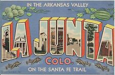 La Junta CO on the Sante Fe Trail Large Letter Linen Postcard