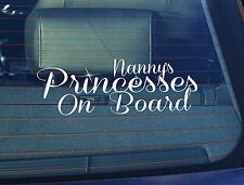 Static Cling Window Car Sign/Decal Nanny's Princesses on Board 100 x 250mm