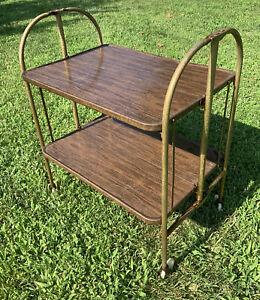 Vtg Metal Kitchen Cart Versa-Table Folding Black Gold Atomic Mid Century Modern