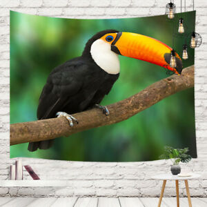 Bird A Toucan on tree branch Hippie Tapestry Wall Hanging Blanket
