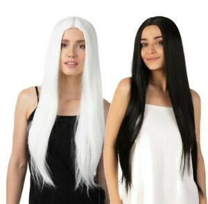 Deluxe Long White Wig Black Wig Cosplay UK Cute Fancy Dress Straight Womens UK
