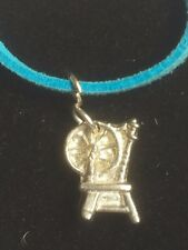 """Spinning Wheel TG306A Fine English Pewter On 18"""" Blue Cord Necklace"""