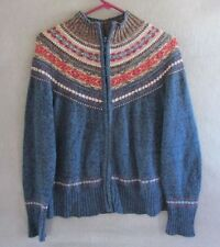 W5739 Tiara International Womans Medium Blue Multi Colored Full Zip Sweater