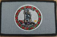 Virginia State Flag Iron-On Sew Patch USA Tactical Gray Version
