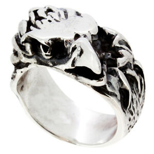 Eagle Ring 925 Sterling Silver For Men Chunky Heavy Unqiue Biker Ring