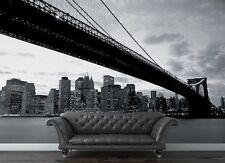 Carta da parati fotografica 315X232cm NEW YORK Ponte di Brooklyn Vista Bianco &