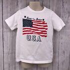 Osh Kosh Original Kids White T-Shirt Size 5 Home of the Brave Patriotic Flag SS