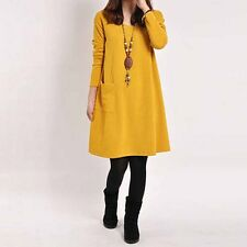 Women Dress Vintage Mini Winter Long Sleeve Tunic Soild Plus Size Casual Tops
