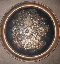 vintage coppercraft dart ind. 7469 flower basket 20'' wall plaque