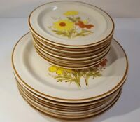 Set of 16 Vtg Bonnie-Fleur Dinner Salad Plates Stoneware Yellow Flowers JAPAN