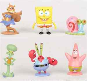 6pcs SpongeBob Squarepants Patrick Star Squidward Tentacles Action Figures Toys