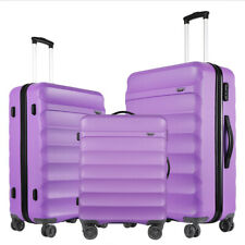 GinzaTravel Anti-scratch Purple Luggage 3 Pcs Sets Lightweight Spinner Suitcase