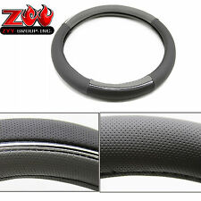Perforated Leather Steering Wheel Cover Black Grey Silver line Bar Breathable