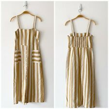 & Other Stories Striped Cotton Linen Midi Dress Side 4