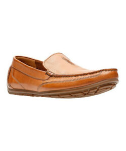 NEW MEN'S CLARKS TAN LOAFER SLIP ON Leather Casuals Shoes BENERO RACE 34290