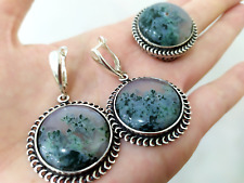Jewelry set Sterling silver 925 Earring Round Ring Natural moss agate green NEW