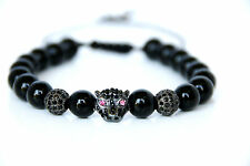 Crystal Leopard Charm Power Bracelet adjustable black Onyx Beads Bracelet