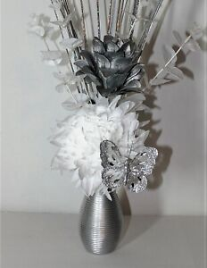 Artificial Flowers, White Silver Flower Arrangement in Small Silver Vase