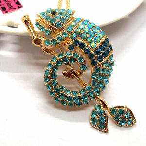 Blue Rhinestone Bling Branch Gecko Crystal Pendant Betsey Johnson Chain Necklace