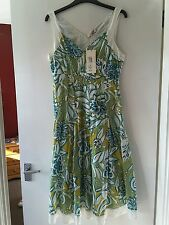 Per Una Cotton Lined Floral Summer Dress Size 10 New