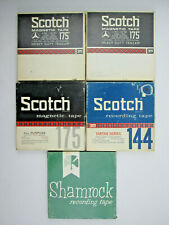 """5 USED 7"""" Reels with 1/4"""" Magnetic Tape 3 Scotch 175 1 Scotch 144 1 Shamrock 031"""