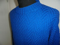 blauer vintage 80s Strickpulli sweater Wolle oldschool 80er strick jumper L