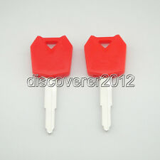 2 pcs Red Blank Key Uncut for Kawasaki Ninja ZX6R ZX10R ZX12R Z1000 Motorcycle