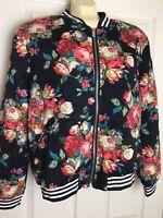 Umgee Quilted Boho Floral Bomber Jacket Multi-Color Size Medium