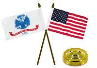 "Army White & USA American Gold Staff Flags 4""x6"" Desk Set Gold Base"