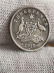 Australia 3d Threepence 1919 Silver (.925) Coin - George V- Kangaroo and Emu