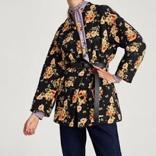 ZARA Bloggers Favourite FLORAL QUILTED PUFFER COAT WITH BELT SIZE L Jacquard