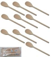 """10"""" X 12 APOLLO WOODEN COOKING SPOONS CATERING PACK BEECHWOOD UTENSILS NEW"""