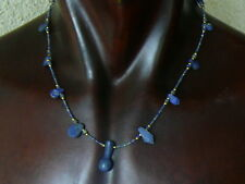 "(eV158)  UNISEX Necklace Egyptian style, hand carved Lapis Lazuli beads 19"""