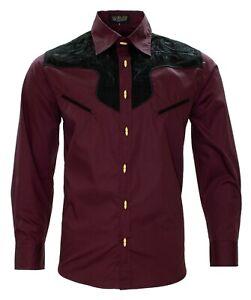 Men's Charro Shirt Camisa Charra El General Western Wear Burgundy