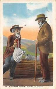 E57/ Black Americana Postcard Southern Delight Possum Chicken 18