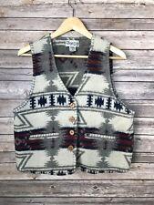 Cheyenne Autumn Aztec Wool Button Up Western Vest Misses Womens Sz L EXC!