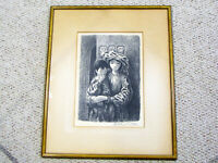 FLETCHER MARTIN PENCIL SIGNED LITHO PRINT - YOUNG WOMAN & CHILD