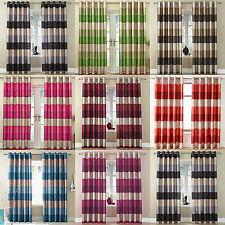 Rio Striped Printed Slubbed Faux Silk Ring Top Eyelet Curtains Stripe Design