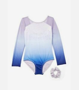 NWT Justice Girls Ombre Sparkle Long Sleeved Leotard Size 6 7 8 10 12 14