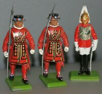 Lot (3) Britains - Metal Toy Soldiers - Beefeater Soldiers & Royal Palace Guard