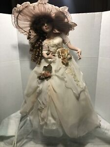 """21"""" Collectible Porcelain Doll Night Light Lamp Brown Ringlet Hair"""
