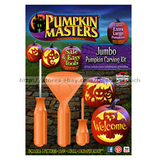 PUMPKIN MASTERS* 8pc Set JUMBO Pumpkin Carving Kit HALLOWEEN Saw+Drill+Patterns