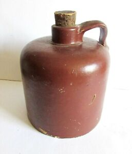 "Antique Original Brown Crockery Jug with Handle and Cork 7"" tall 19th C FREE SH"