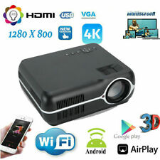 Android 6.0 Multimedia Projector Home Theater 3D HD 1080P WiFi BT Game Movie USA