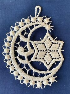 Christmas Decoration/Ornament - cream lace - Moon and Star