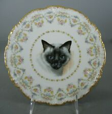 "Antique J.P. Limoges China 8 1/2"" Plate - Cat Portrait"