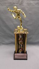lot of 10 male SOCCER  trophies wide gold theme column weighted black base